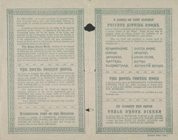 Advert for the Royal Forest Hotel, Chingford, reverse side